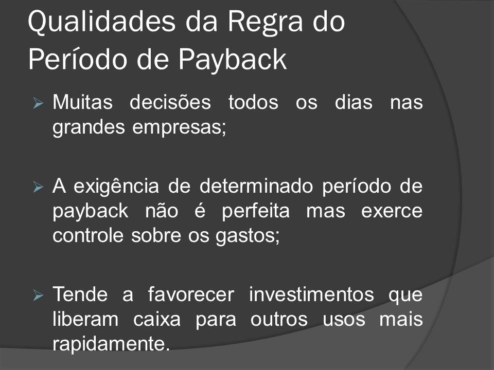 Qualidades da Regra do Período de Payback Muitas decisões todos os dias nas grandes empresas; A exigência de determinado período de payback não é perf