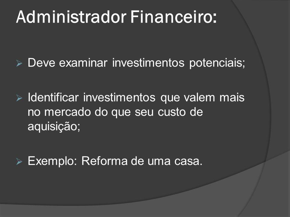 Administrador Financeiro: Deve examinar investimentos potenciais; Identificar investimentos que valem mais no mercado do que seu custo de aquisição; E