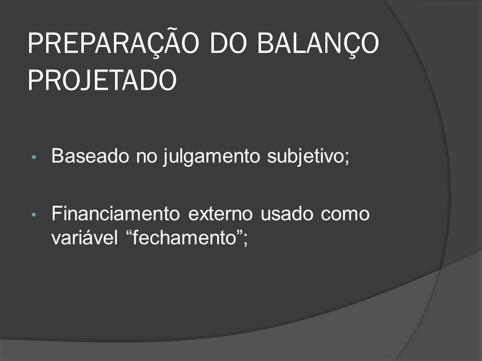 PREPARAÇÃO DO BALANÇO PROJETADO Baseado no julgamento subjetivo; Financiamento externo usado como variável fechamento;