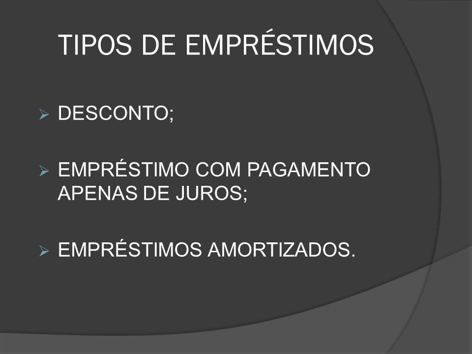 TIPOS DE EMPRÉSTIMOS DESCONTO; EMPRÉSTIMO COM PAGAMENTO APENAS DE JUROS; EMPRÉSTIMOS AMORTIZADOS.