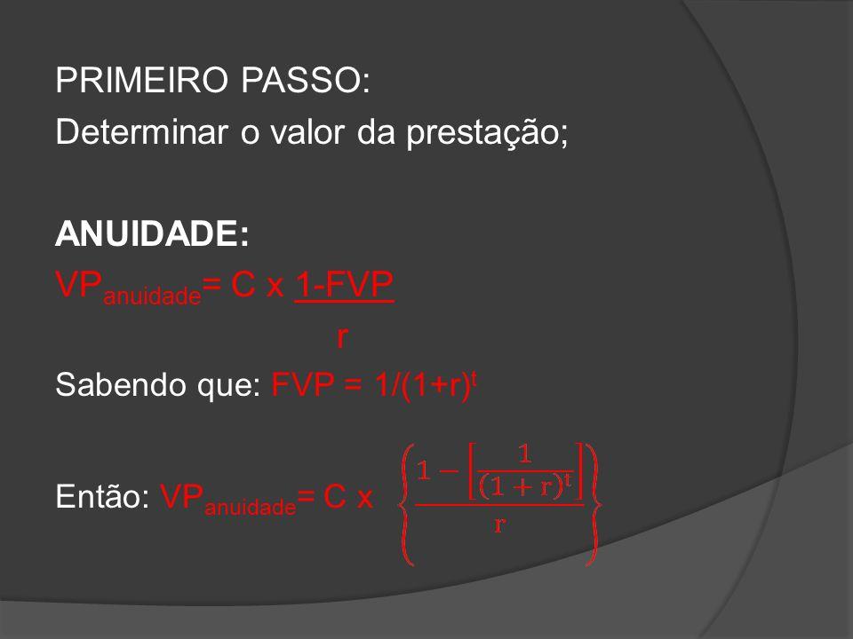 PRIMEIRO PASSO: Determinar o valor da prestação; ANUIDADE: VP anuidade = C x 1-FVP r Sabendo que: FVP = 1/(1+r) t Então: VP anuidade = C x