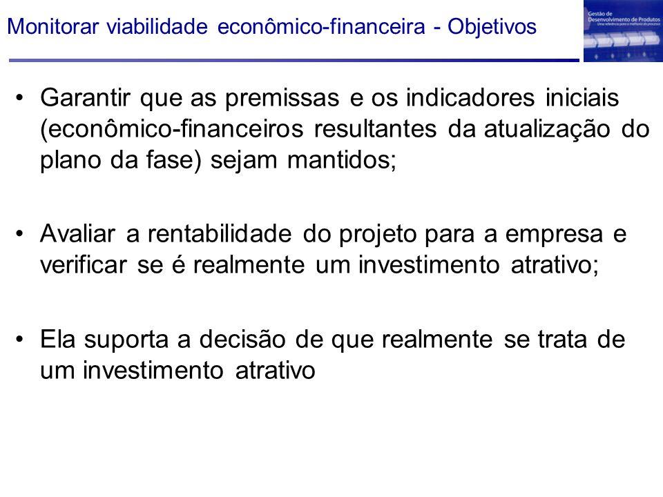 Monitorar viabilidade econômico-financeira - Objetivos Garantir que as premissas e os indicadores iniciais (econômico-financeiros resultantes da atual