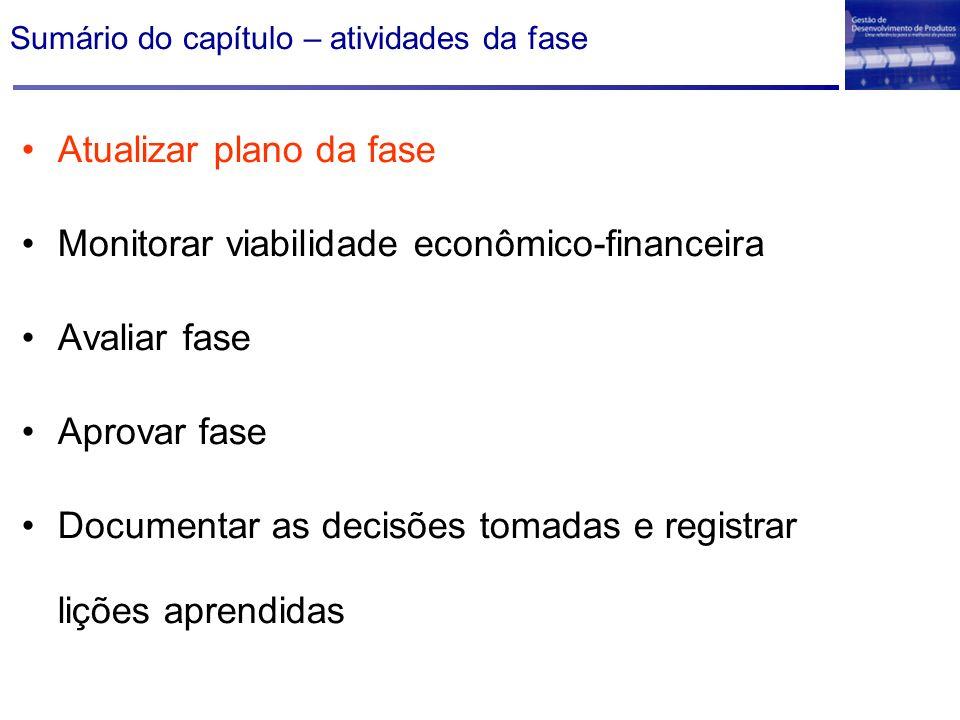 Sumário do capítulo – atividades da fase Atualizar plano da fase Monitorar viabilidade econômico-financeira Avaliar fase Aprovar fase Documentar as de