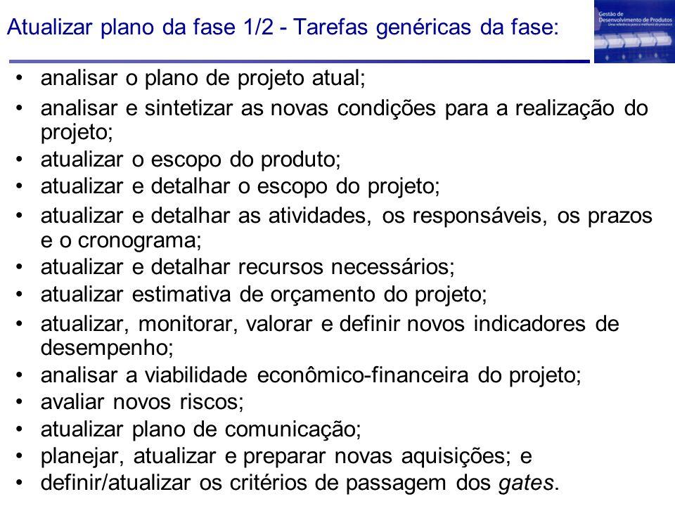 Atualizar plano da fase 1/2 - Tarefas genéricas da fase: analisar o plano de projeto atual; analisar e sintetizar as novas condições para a realização