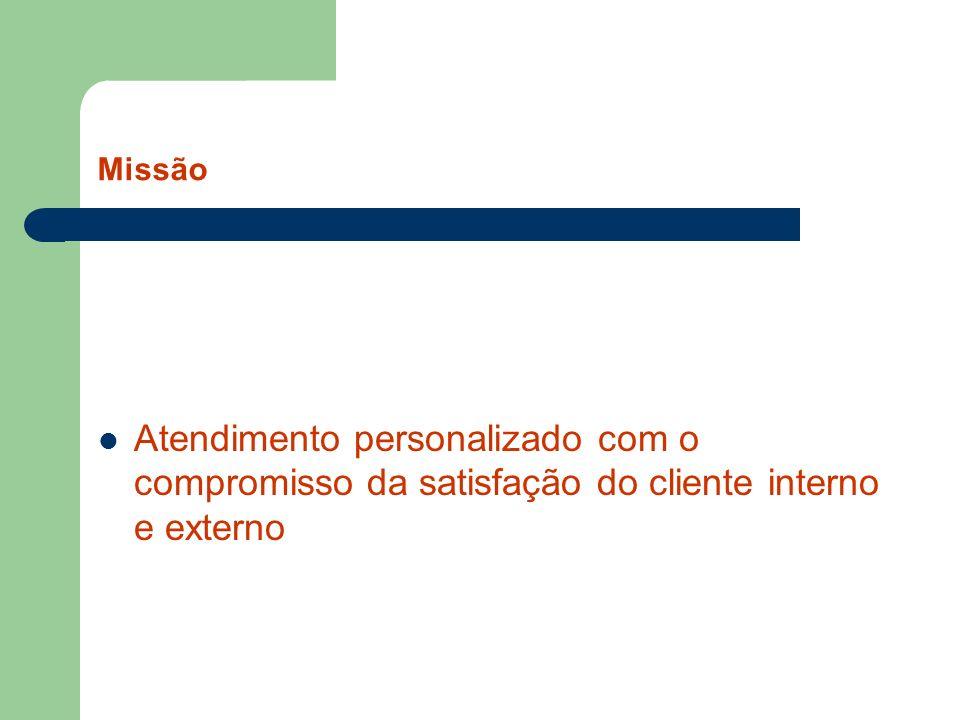 Missão Atendimento personalizado com o compromisso da satisfação do cliente interno e externo