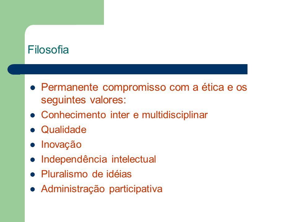 Filosofia Permanente compromisso com a ética e os seguintes valores: Conhecimento inter e multidisciplinar Qualidade Inovação Independência intelectua