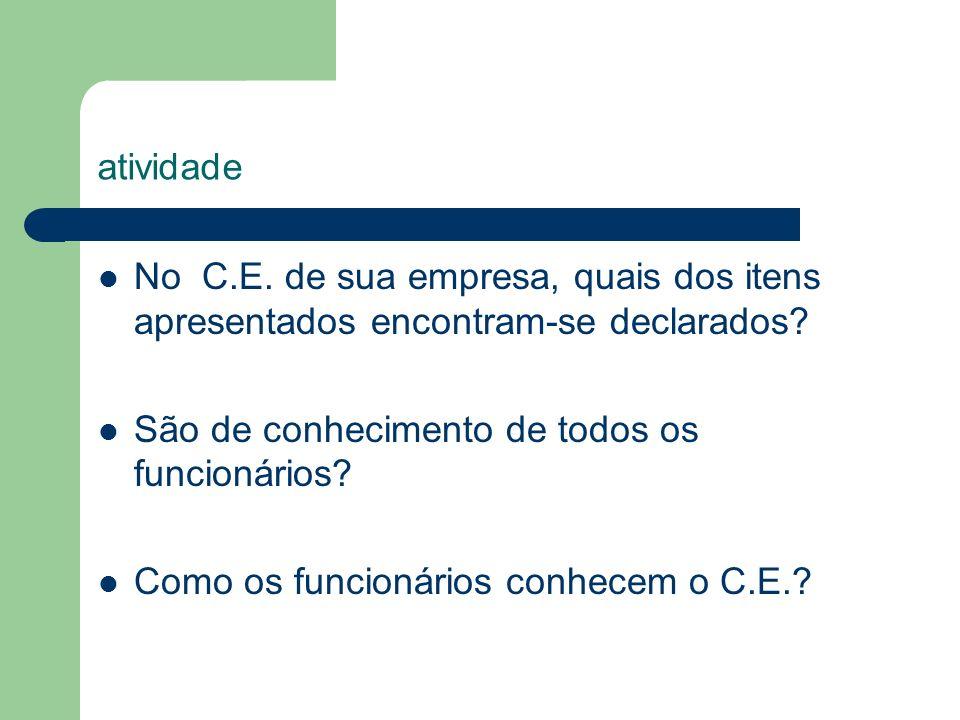 atividade No C.E. de sua empresa, quais dos itens apresentados encontram-se declarados? São de conhecimento de todos os funcionários? Como os funcioná