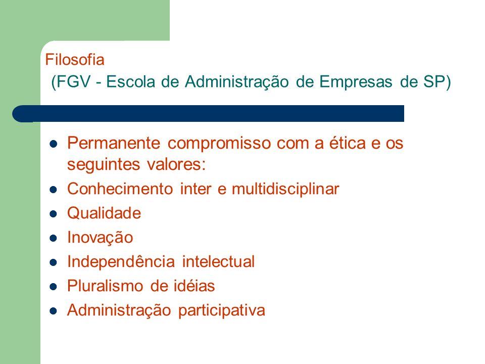 Filosofia (FGV - Escola de Administração de Empresas de SP) Permanente compromisso com a ética e os seguintes valores: Conhecimento inter e multidisci