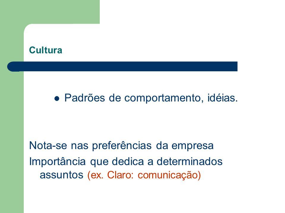 Cultura Padrões de comportamento, idéias. Nota-se nas preferências da empresa Importância que dedica a determinados assuntos (ex. Claro: comunicação)