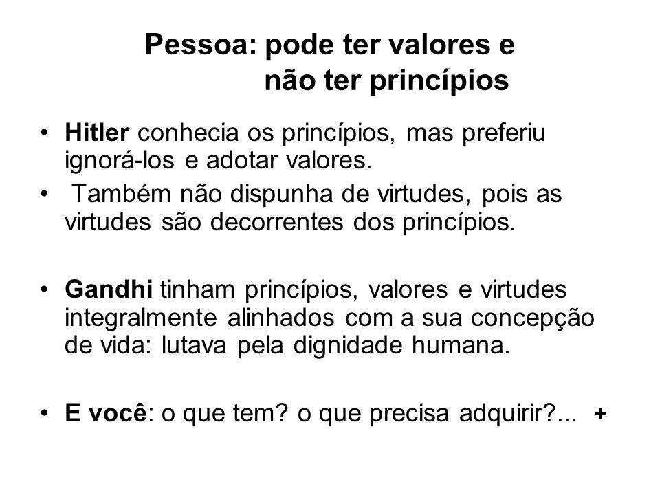 Pessoa: pode ter valores e não ter princípios Hitler conhecia os princípios, mas preferiu ignorá-los e adotar valores. Também não dispunha de virtudes