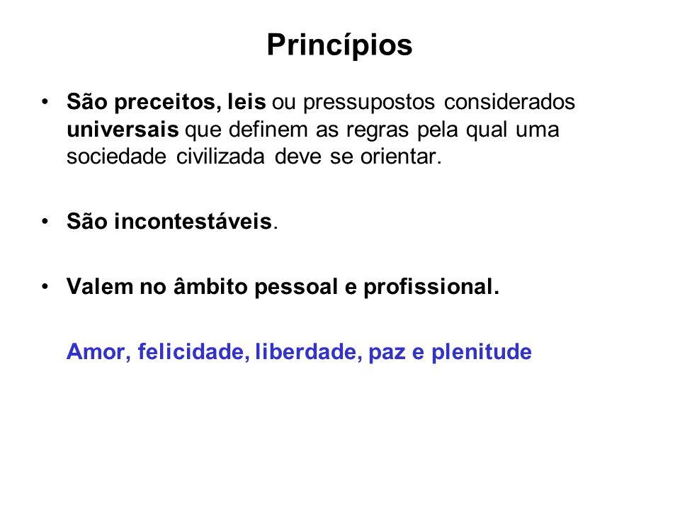 Princípios São preceitos, leis ou pressupostos considerados universais que definem as regras pela qual uma sociedade civilizada deve se orientar. São