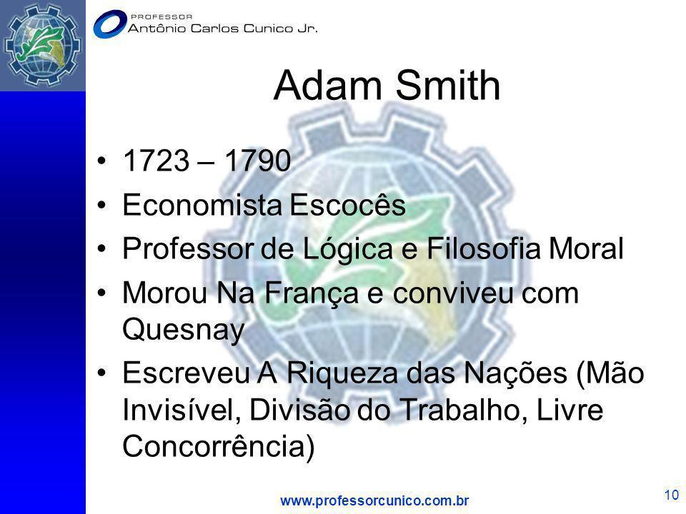 www.professorcunico.com.br 10 Adam Smith 1723 – 1790 Economista Escocês Professor de Lógica e Filosofia Moral Morou Na França e conviveu com Quesnay E