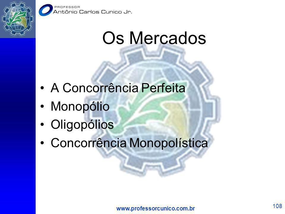 www.professorcunico.com.br 108 Os Mercados A Concorrência Perfeita Monopólio Oligopólios Concorrência Monopolística