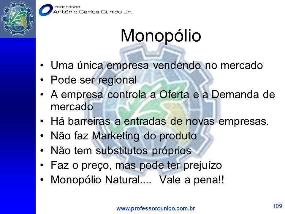 www.professorcunico.com.br 109 Monopólio Uma única empresa vendendo no mercado Pode ser regional A empresa controla a Oferta e a Demanda de mercado Há