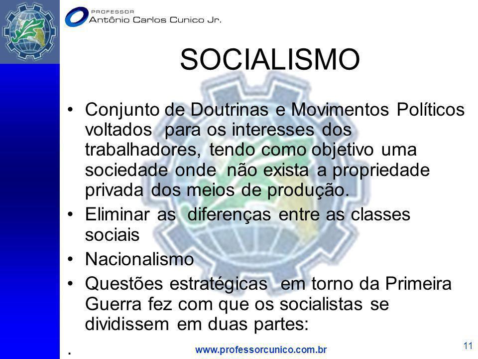 www.professorcunico.com.br 11 SOCIALISMO Conjunto de Doutrinas e Movimentos Políticos voltados para os interesses dos trabalhadores, tendo como objeti