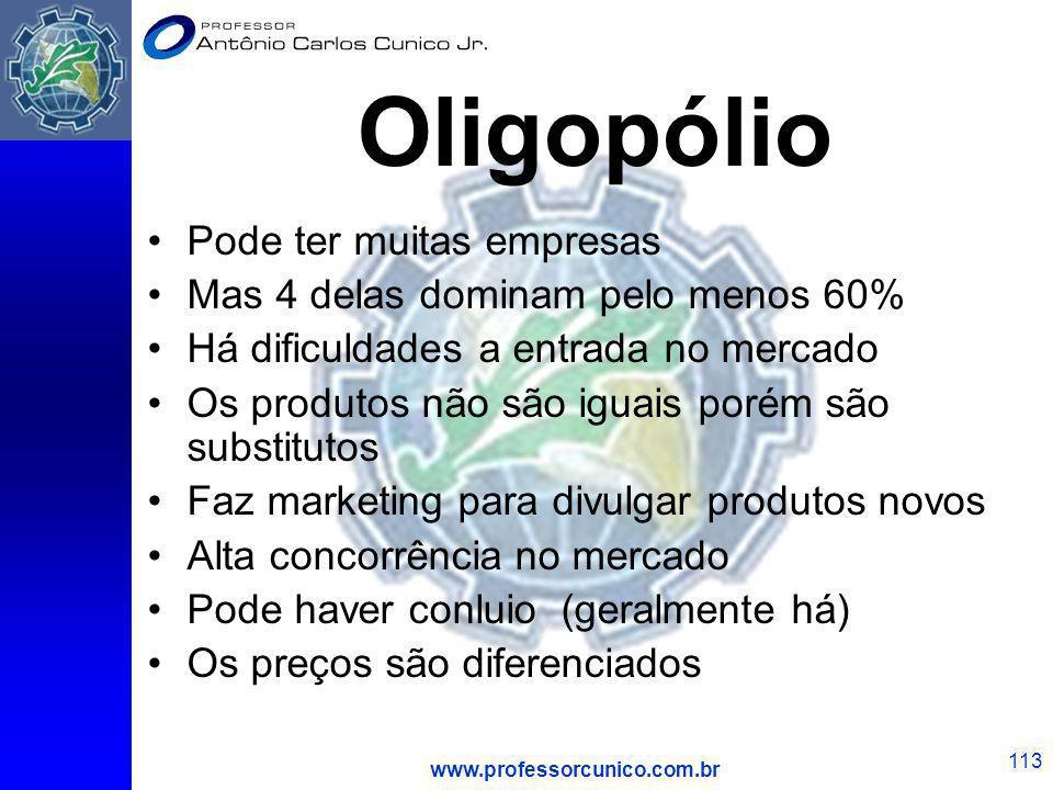 www.professorcunico.com.br 113 Oligopólio Pode ter muitas empresas Mas 4 delas dominam pelo menos 60% Há dificuldades a entrada no mercado Os produtos