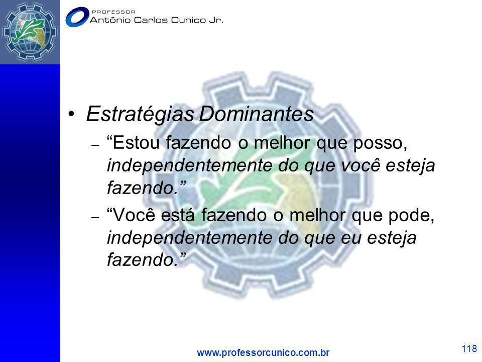 www.professorcunico.com.br 118 Estratégias Dominantes – Estou fazendo o melhor que posso, independentemente do que você esteja fazendo. – Você está fa