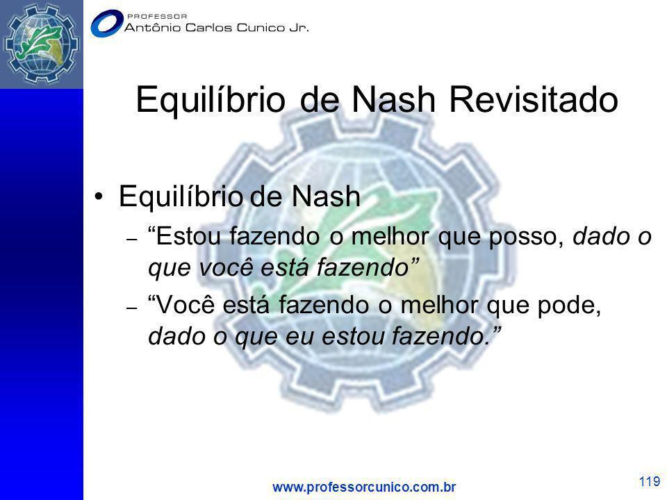 www.professorcunico.com.br 119 Equilíbrio de Nash Revisitado Equilíbrio de Nash – Estou fazendo o melhor que posso, dado o que você está fazendo – Voc
