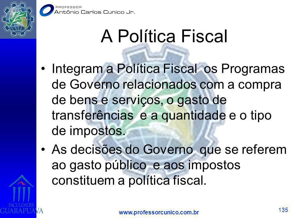 www.professorcunico.com.br 135 A Política Fiscal Integram a Política Fiscal os Programas de Governo relacionados com a compra de bens e serviços, o ga
