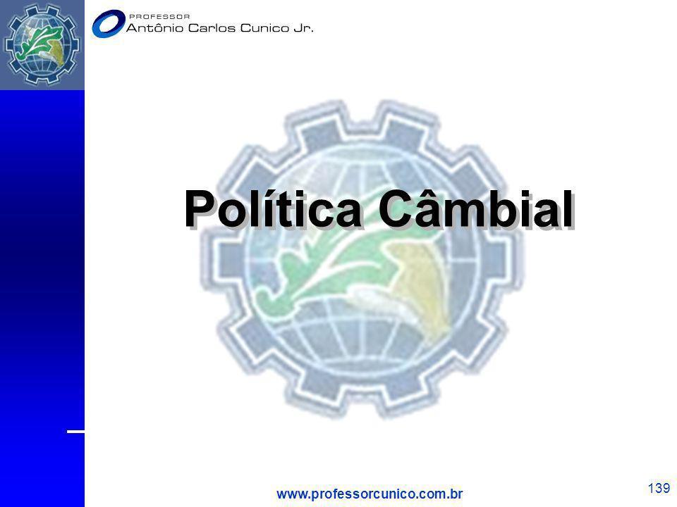 www.professorcunico.com.br 139 Política Câmbial