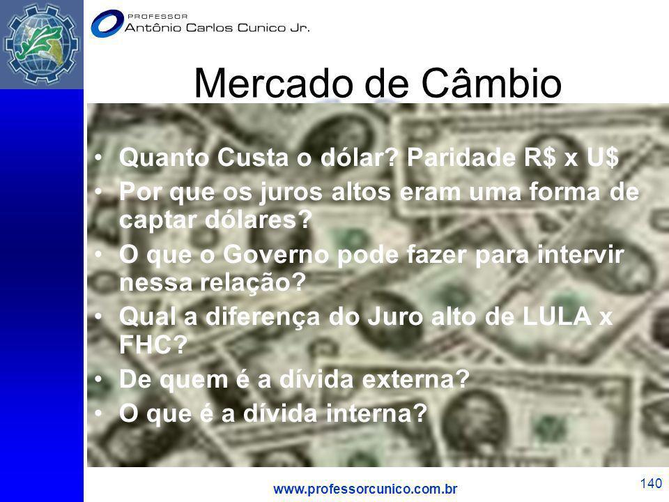www.professorcunico.com.br 140 Mercado de Câmbio Quanto Custa o dólar? Paridade R$ x U$ Por que os juros altos eram uma forma de captar dólares? O que