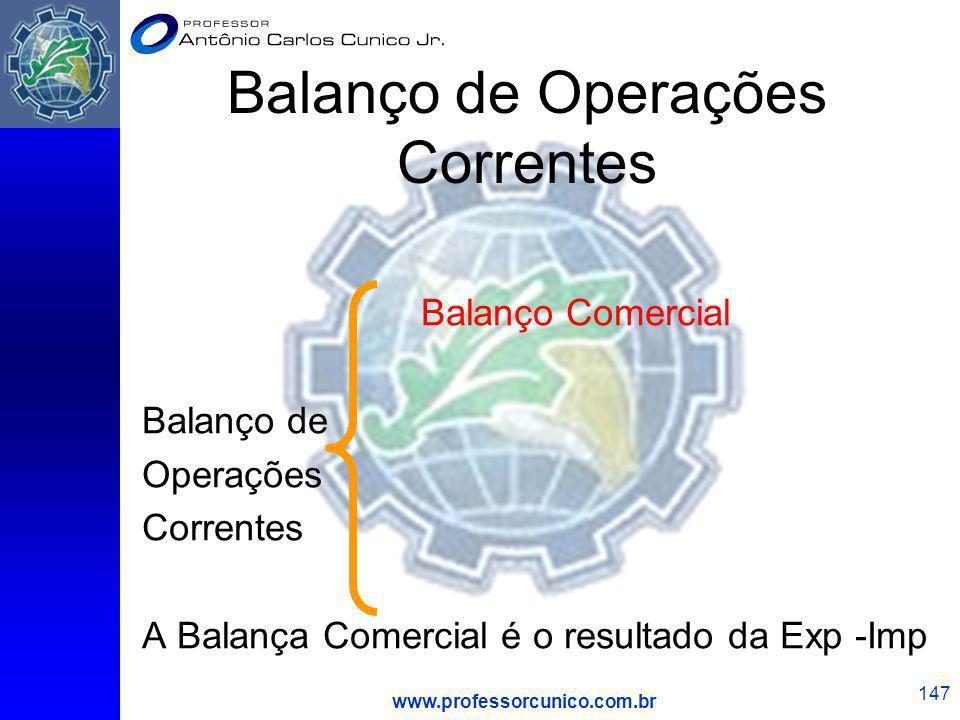 www.professorcunico.com.br 147 Balanço de Operações Correntes Balanço Comercial Balanço de Operações Correntes A Balança Comercial é o resultado da Ex