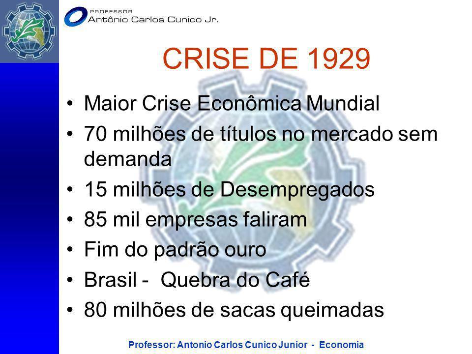 Professor: Antonio Carlos Cunico Junior - Economia CRISE DE 1929 Maior Crise Econômica Mundial 70 milhões de títulos no mercado sem demanda 15 milhões