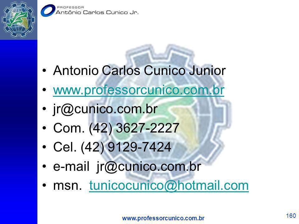 www.professorcunico.com.br 160 Antonio Carlos Cunico Junior www.professorcunico.com.br jr@cunico.com.br Com. (42) 3627-2227 Cel. (42) 9129-7424 e-mail