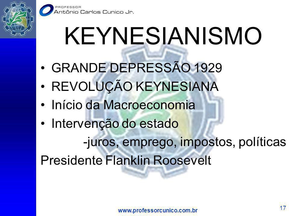 www.professorcunico.com.br 17 KEYNESIANISMO GRANDE DEPRESSÃO 1929 REVOLUÇÃO KEYNESIANA Início da Macroeconomia Intervenção do estado -juros, emprego,