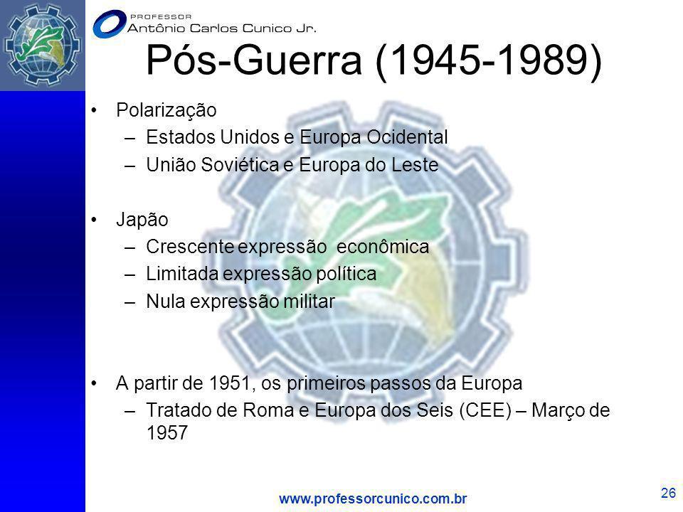 www.professorcunico.com.br 26 Pós-Guerra (1945-1989) Polarização –Estados Unidos e Europa Ocidental –União Soviética e Europa do Leste Japão –Crescent