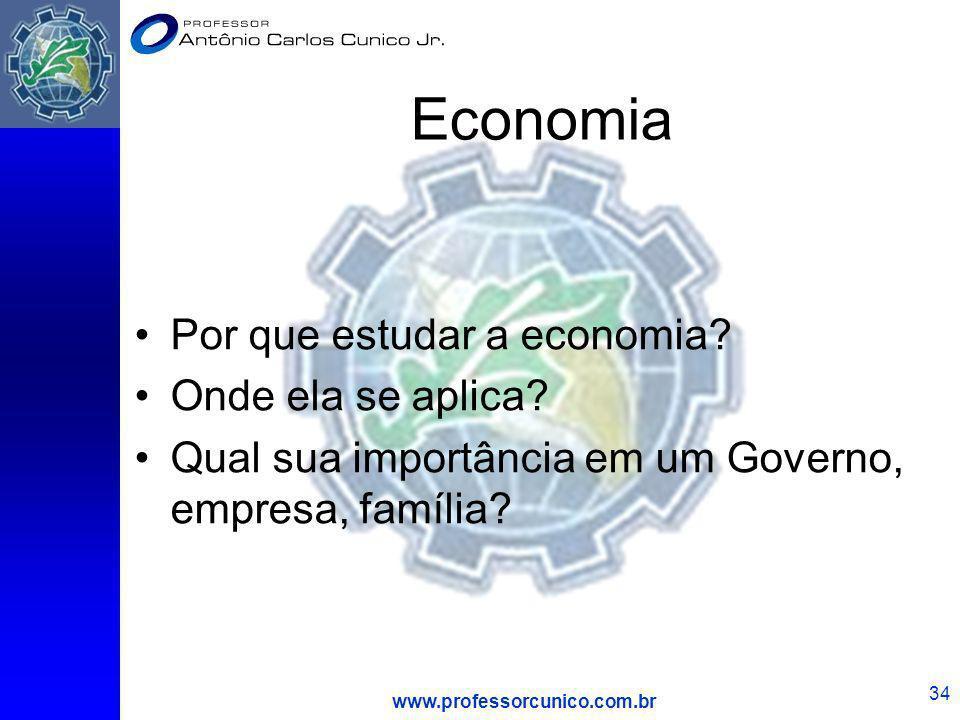 www.professorcunico.com.br 34 Economia Por que estudar a economia? Onde ela se aplica? Qual sua importância em um Governo, empresa, família?