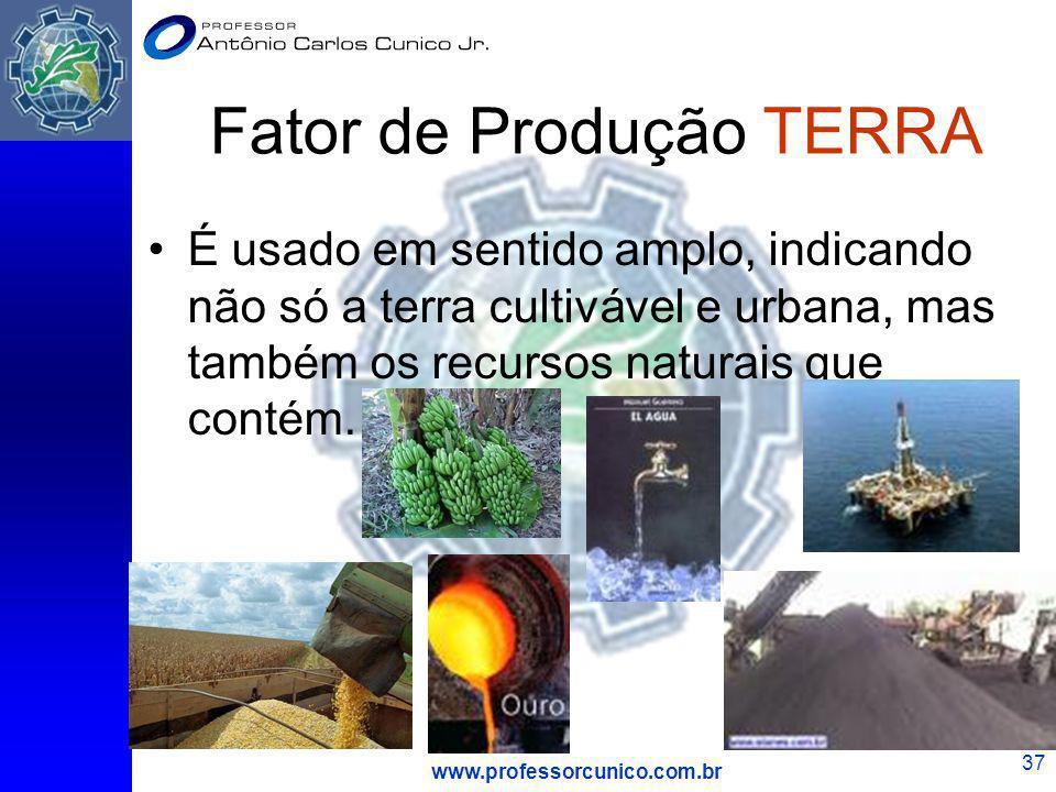 www.professorcunico.com.br 37 Fator de Produção TERRA É usado em sentido amplo, indicando não só a terra cultivável e urbana, mas também os recursos n