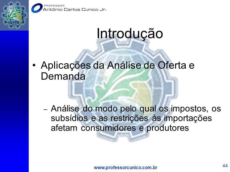 www.professorcunico.com.br 44 Introdução Aplicações da Análise de Oferta e Demanda – Análise do modo pelo qual os impostos, os subsídios e as restriçõ