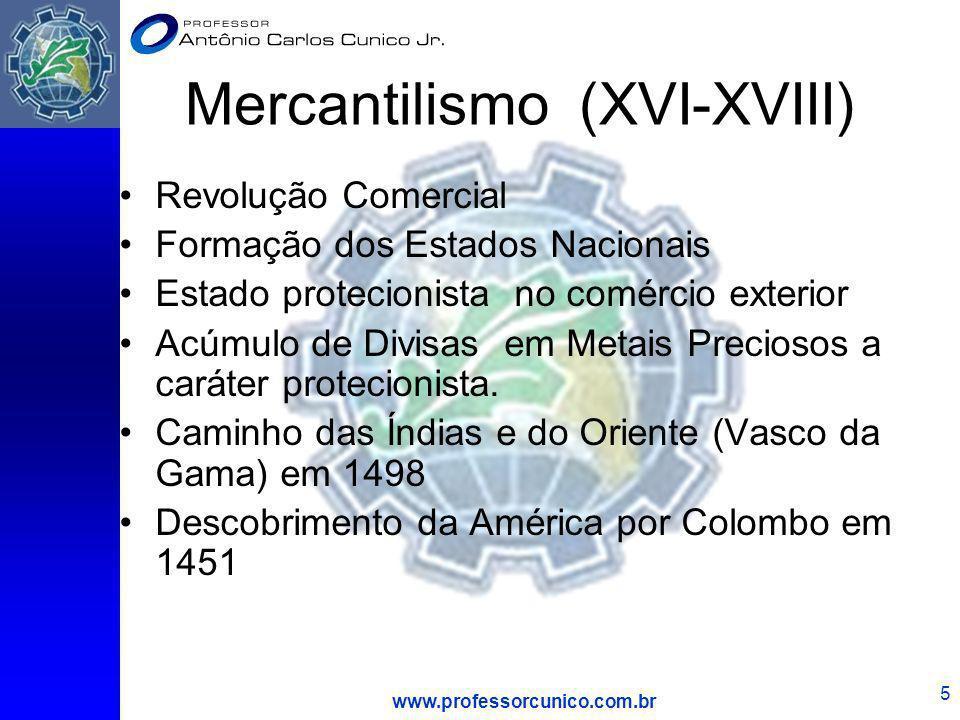 www.professorcunico.com.br 6 Alguns princípios básicos do Mercantilismo 1-O Estado deve incrementar o bem-estar social 2- A riqueza da economia nacional depende do aumento da população e do incremento do volume de metais preciosos no país.