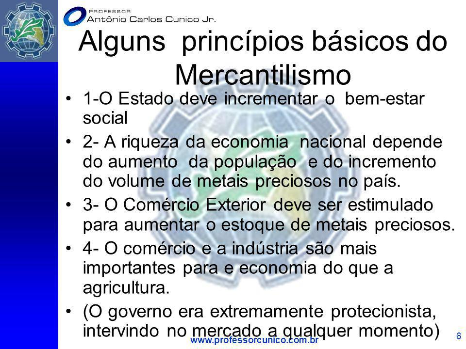 www.professorcunico.com.br 6 Alguns princípios básicos do Mercantilismo 1-O Estado deve incrementar o bem-estar social 2- A riqueza da economia nacion