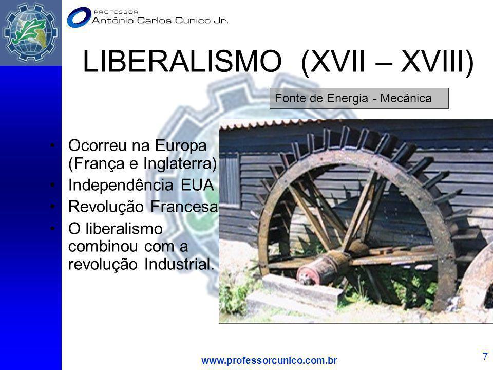 www.professorcunico.com.br 7 LIBERALISMO (XVII – XVIII) Ocorreu na Europa (França e Inglaterra) Independência EUA Revolução Francesa O liberalismo com