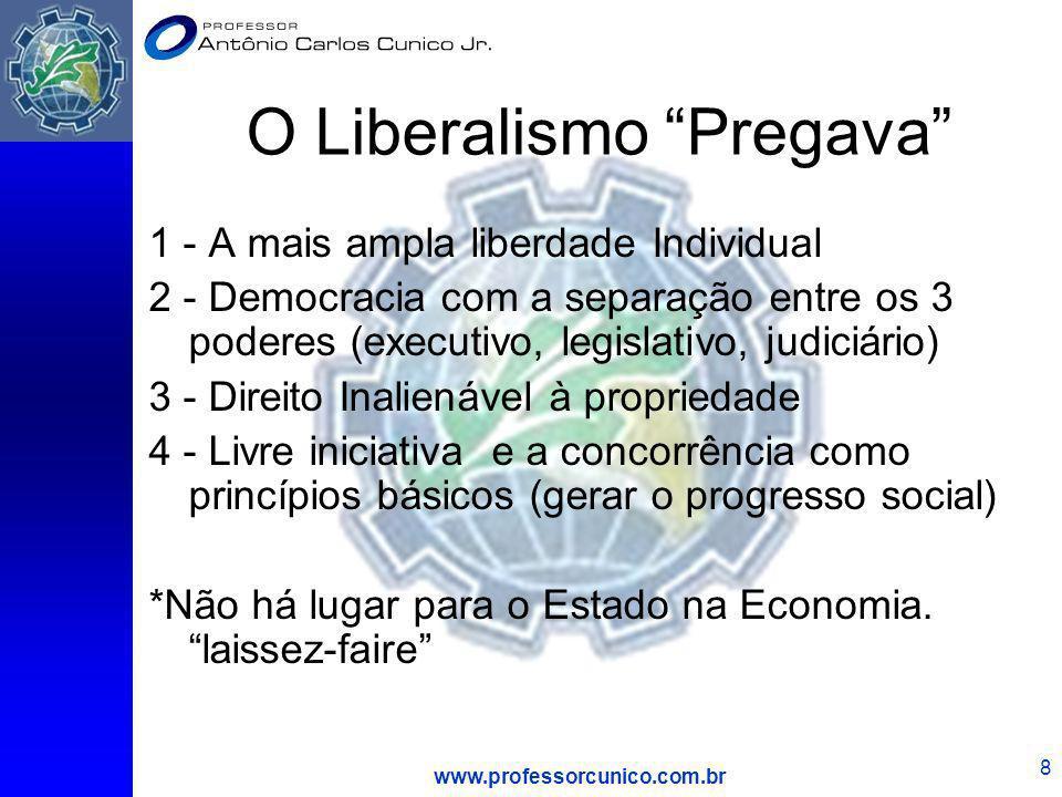 www.professorcunico.com.br 8 O Liberalismo Pregava 1 - A mais ampla liberdade Individual 2 - Democracia com a separação entre os 3 poderes (executivo,