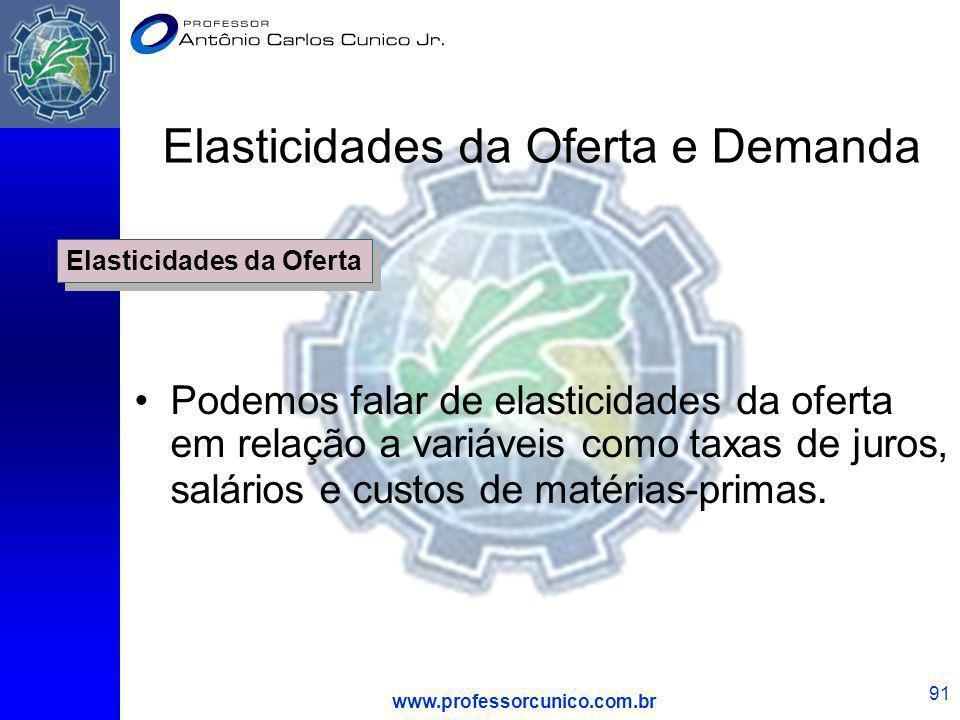 www.professorcunico.com.br 91 Elasticidades da Oferta e Demanda Podemos falar de elasticidades da oferta em relação a variáveis como taxas de juros, s