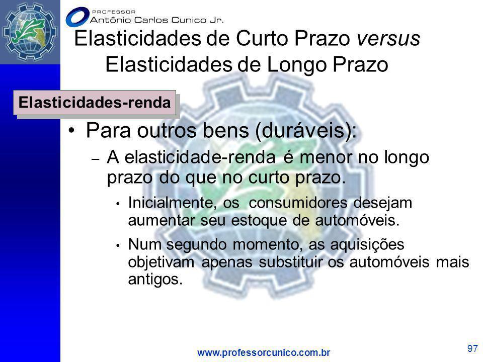www.professorcunico.com.br 97 Para outros bens (duráveis): – A elasticidade-renda é menor no longo prazo do que no curto prazo. Inicialmente, os consu