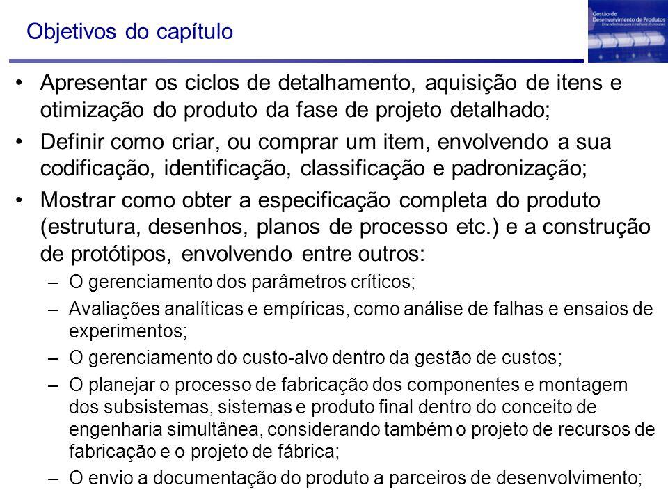 Objetivos do capítulo Apresentar os ciclos de detalhamento, aquisição de itens e otimização do produto da fase de projeto detalhado; Definir como cria