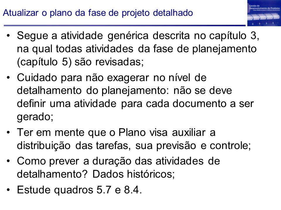 Atualizar o plano da fase de projeto detalhado Segue a atividade genérica descrita no capítulo 3, na qual todas atividades da fase de planejamento (ca