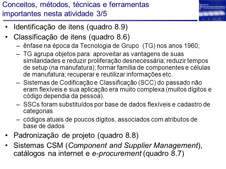 Conceitos, métodos, técnicas e ferramentas importantes nesta atividade 3/5 Identificação de itens (quadro 8.9) Classificação de itens (quadro 8.6) –ên