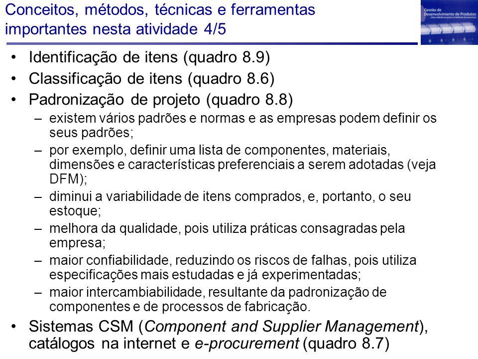 Conceitos, métodos, técnicas e ferramentas importantes nesta atividade 4/5 Identificação de itens (quadro 8.9) Classificação de itens (quadro 8.6) Pad