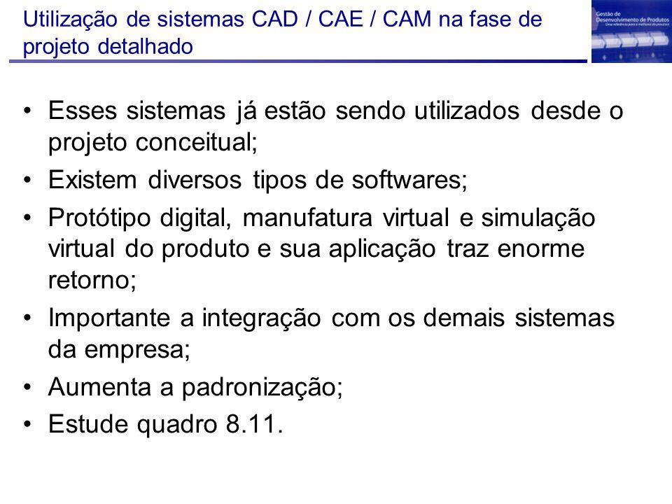 Utilização de sistemas CAD / CAE / CAM na fase de projeto detalhado Esses sistemas já estão sendo utilizados desde o projeto conceitual; Existem diver