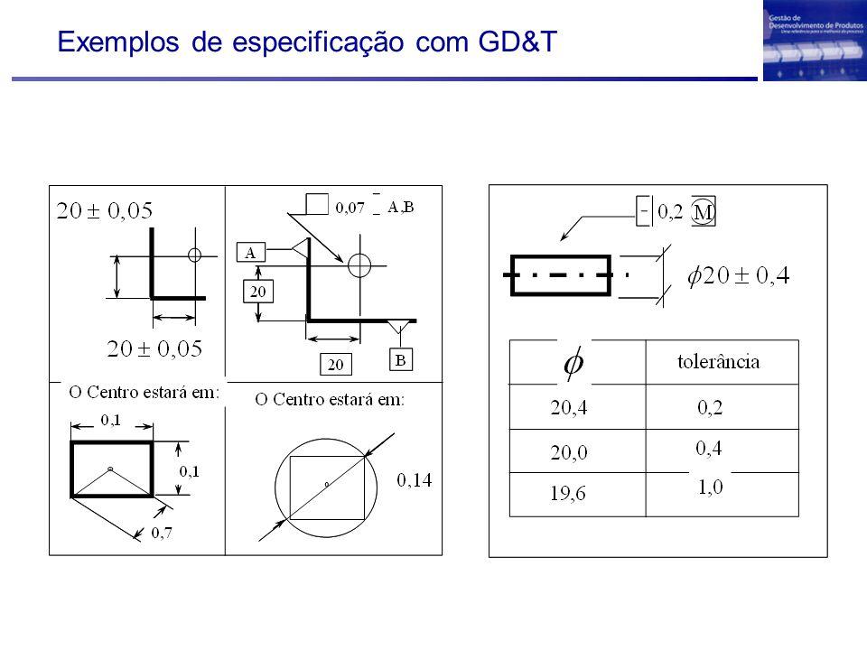 Exemplos de especificação com GD&T