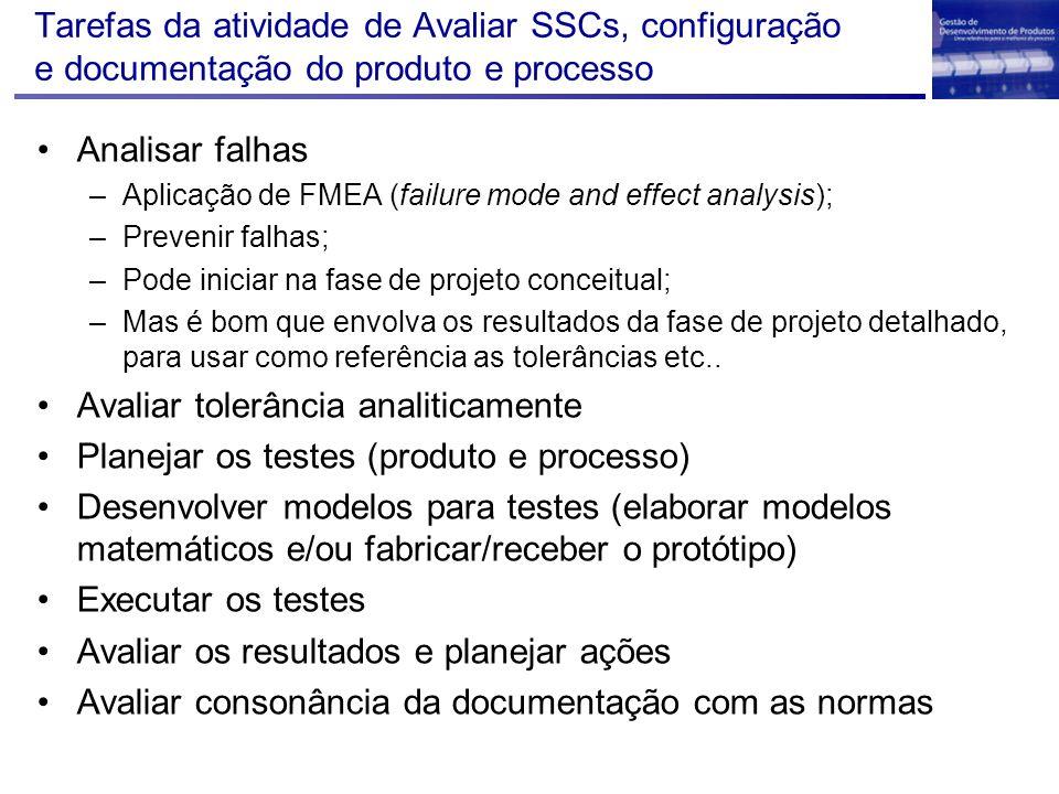 Tarefas da atividade de Avaliar SSCs, configuração e documentação do produto e processo Analisar falhas –Aplicação de FMEA (failure mode and effect an