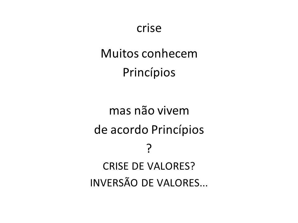 crise Muitos conhecem Princípios mas não vivem de acordo Princípios ? CRISE DE VALORES? INVERSÃO DE VALORES...