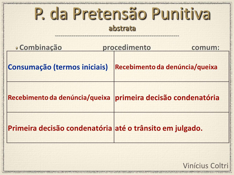Vinícius Coltri Combinação procedimento comum: Consumação (termos iniciais) Recebimento da denúncia/queixa primeira decisão condenatória Primeira deci