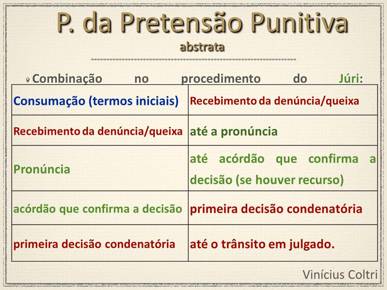 Vinícius Coltri Combinação no procedimento do Júri: Consumação (termos iniciais) Recebimento da denúncia/queixa até a pronúncia Pronúncia até acórdão