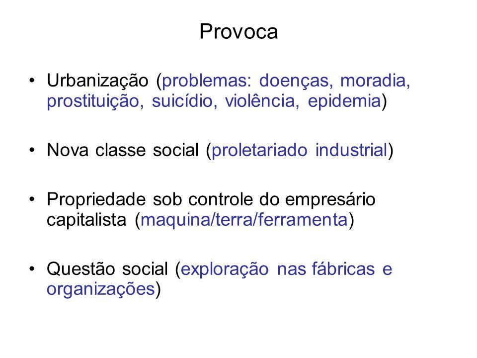 Provoca Urbanização (problemas: doenças, moradia, prostituição, suicídio, violência, epidemia) Nova classe social (proletariado industrial) Propriedad